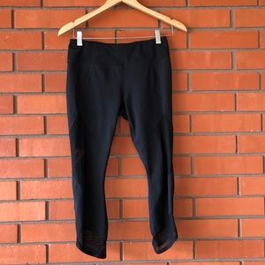 ATHLETA Black Cropped Leggings Sheer Panel